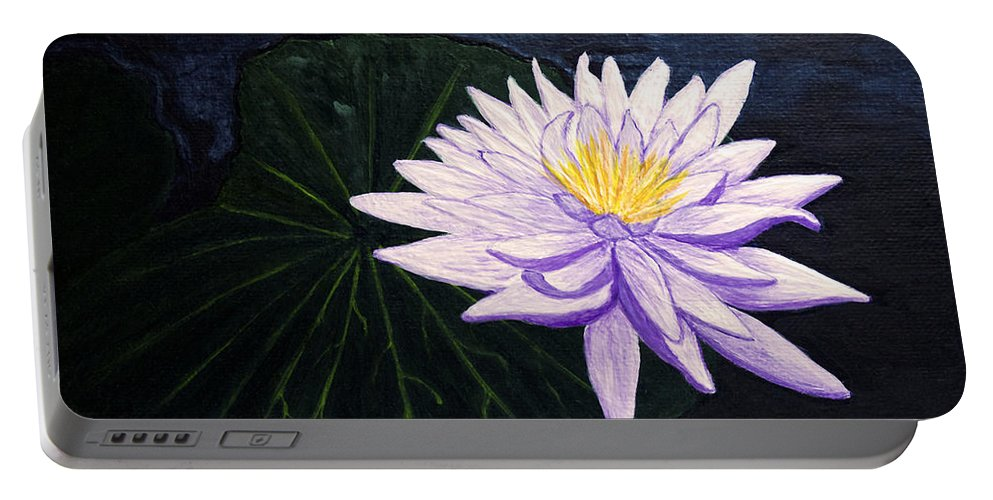 Original Painting Portable Battery Charger featuring the painting Lotus Blossom At Night by Patricia Griffin Brett