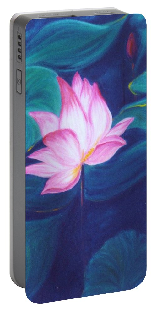 Floral Portable Battery Charger featuring the painting Lotus by Dina Holland