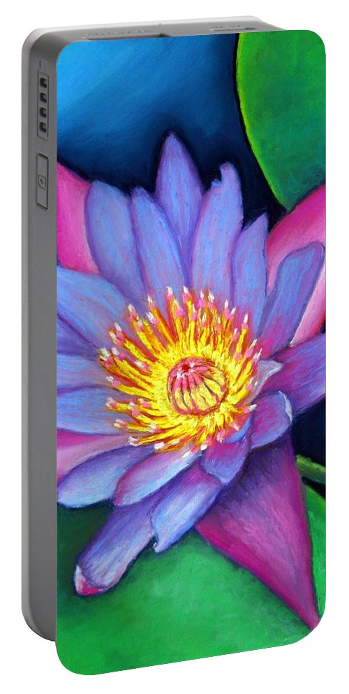 Flower Portable Battery Charger featuring the painting Lotus Divine by Minaz Jantz