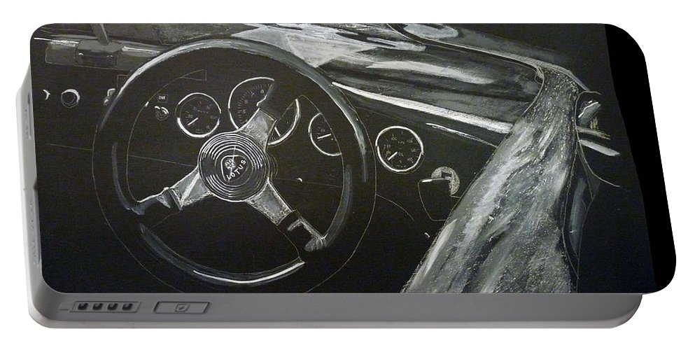 Lotus Eleven Portable Battery Charger featuring the painting Lotus Eleven by Richard Le Page