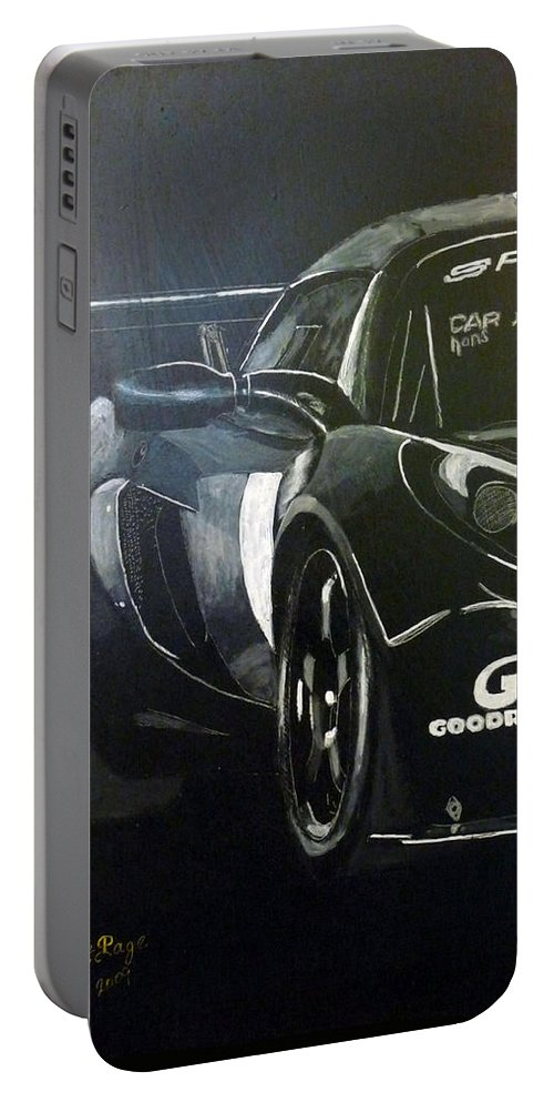 Lotus Exige Gt3 Portable Battery Charger featuring the painting Lotus Exige Gt3 Side by Richard Le Page
