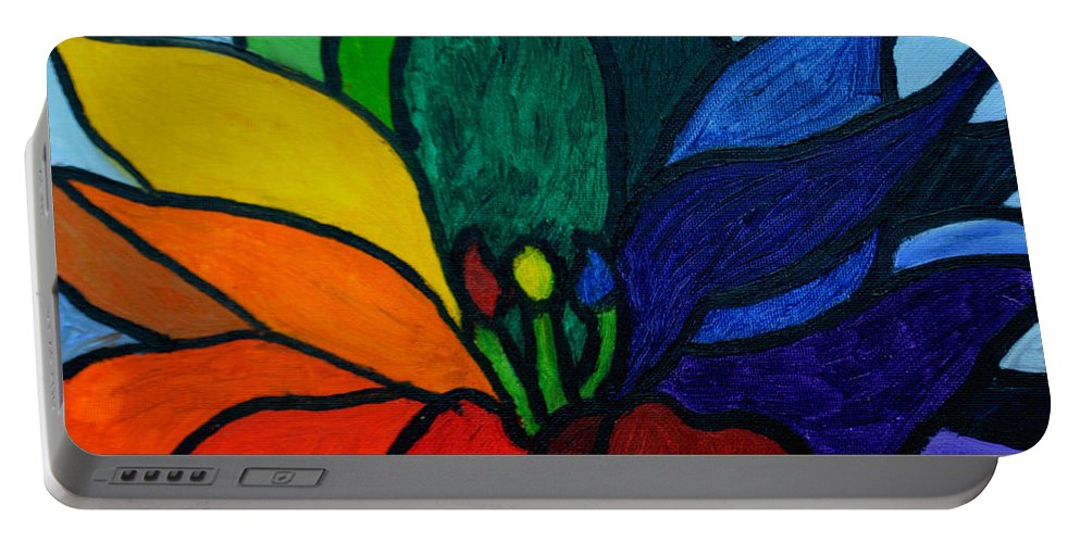 Rainbow Colored Lotus Flower Close Up Portable Battery Charger featuring the painting Lotus Flower 1 by Christopher M Farris