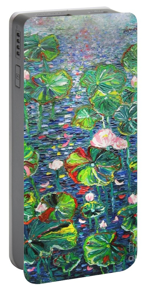 Water Lily Paintings Portable Battery Charger featuring the painting Lotus Flower Water Lily Lily Pads Painting by Seon-Jeong Kim