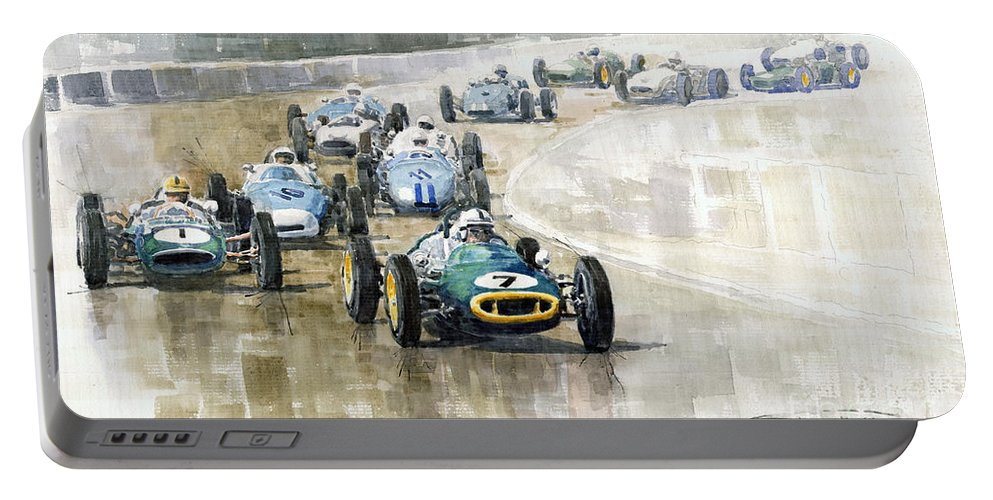 Automotive Portable Battery Charger featuring the painting 1961 Germany Gp #7 Lotus Climax Stirling Moss Winner by Yuriy Shevchuk