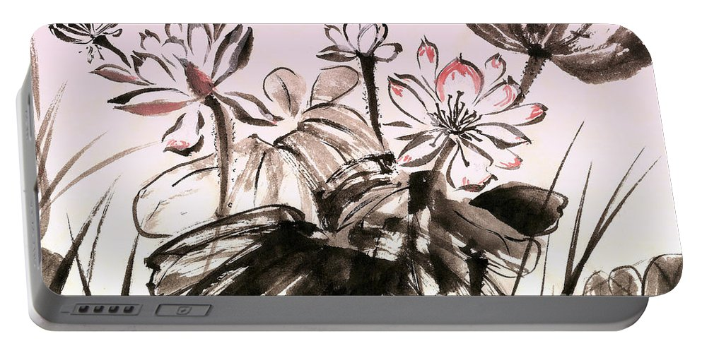 Lotus Portable Battery Charger featuring the mixed media Lotus by Irina Davis