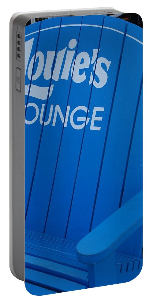 Bench Portable Battery Charger featuring the photograph Louie S Lounge by Rob Hans