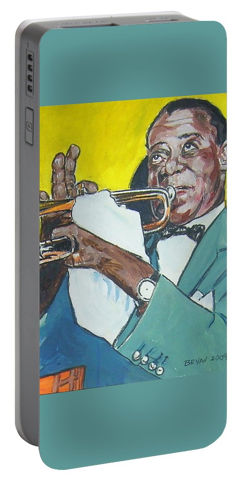 Louis Armstrong Portable Battery Charger featuring the painting Louis Armstrong by Bryan Bustard