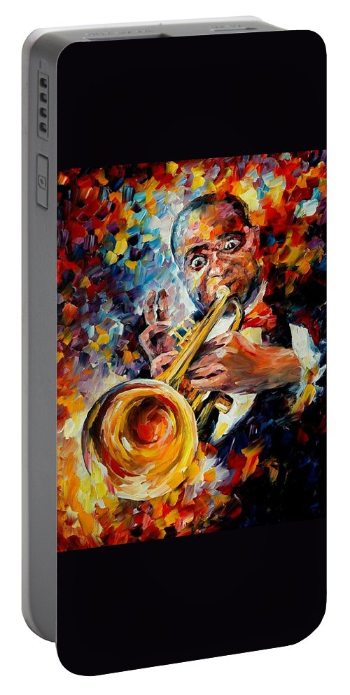 Music Portable Battery Charger featuring the painting Louis Armstrong by Leonid Afremov