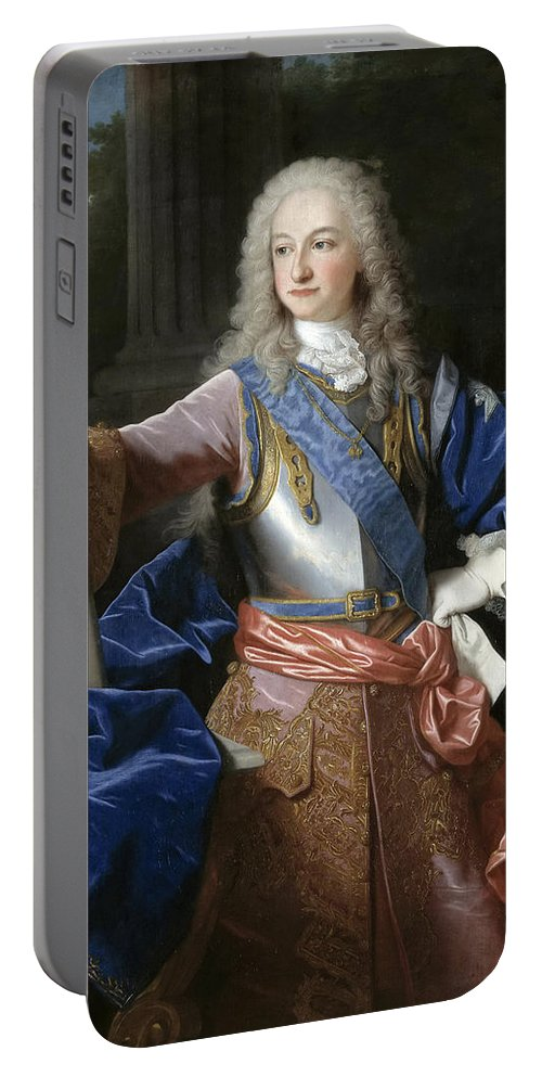Jean Ranc Portable Battery Charger featuring the painting Louis De Bourbon Of Savoy. Prince Of Asturias. Later Louis I Of Spain by Jean Ranc