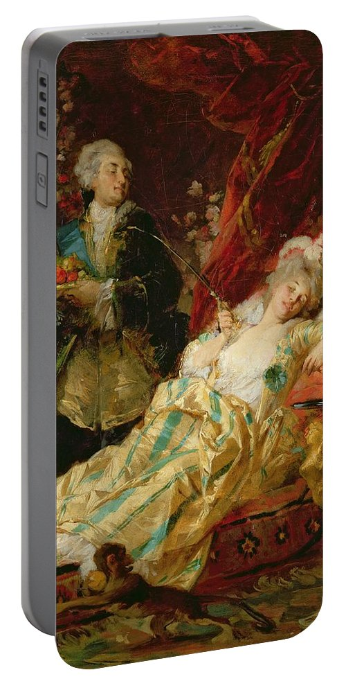 Louis Portable Battery Charger featuring the painting Louis Xv And Madame Dubarry by Gyula Benczur