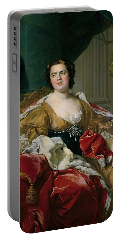 Curtain Portable Battery Charger featuring the painting Louise-elisabeth Of France, Wife Of The Infante Philip, Future Duke Of Parma by Louis-Michel van Loo