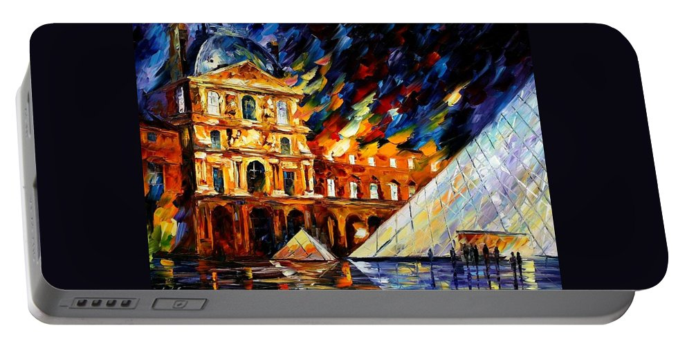 Afremov Portable Battery Charger featuring the painting Louvre Museum by Leonid Afremov