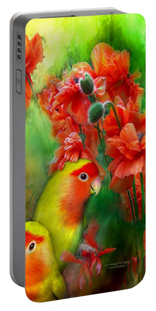Lovebird Portable Battery Charger featuring the mixed media Love Among The Poppies by Carol Cavalaris
