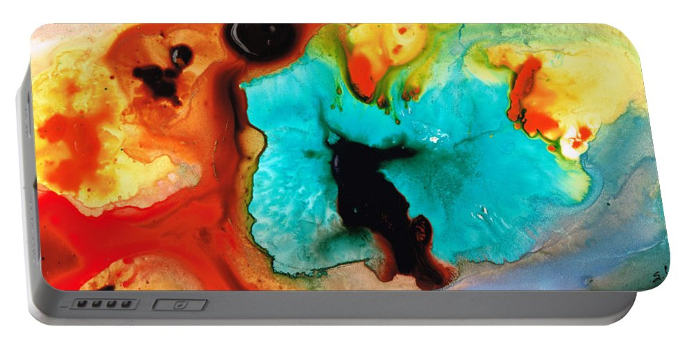 Abstract Art Portable Battery Charger featuring the painting Love And Approval by Sharon Cummings
