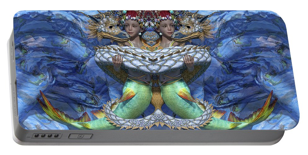 Mermaid Portable Battery Charger featuring the digital art Love And War Mirrored Custom by Betsy Knapp