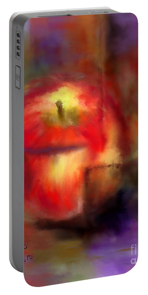Apples Portable Battery Charger featuring the painting Love At First Bite by Colleen Taylor