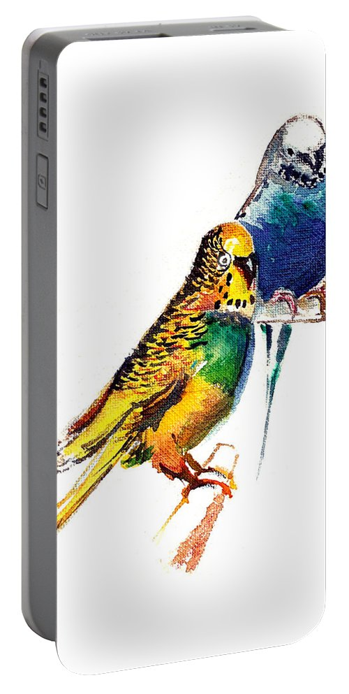 Nature Portable Battery Charger featuring the painting Love Birds by Anil Nene