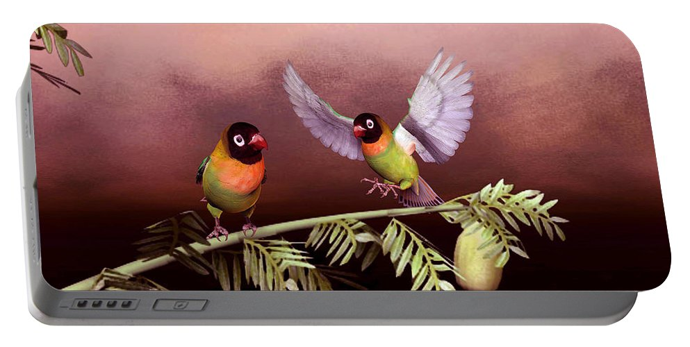Animals Portable Battery Charger featuring the digital art Love Birds By John Junek by John Junek