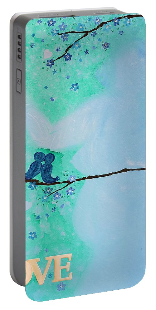Body Prints Painting Portable Battery Charger featuring the painting Love Birds In Blue Maternity by April Kasper