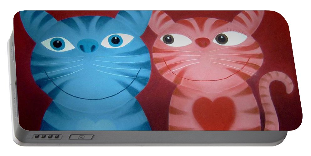 Cats Portable Battery Charger featuring the pastel Love Catz by Chris Mackie