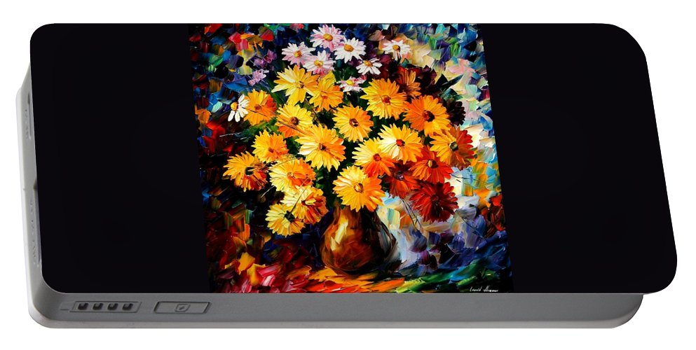 Flowers Portable Battery Charger featuring the painting Love Irradiation by Leonid Afremov