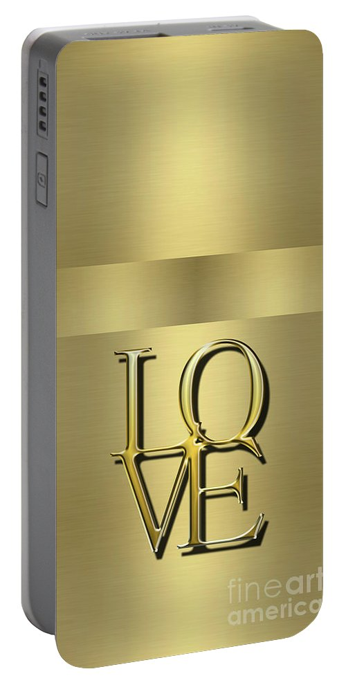 Love Portable Battery Charger featuring the digital art Love Is Golden by Anne Kitzman