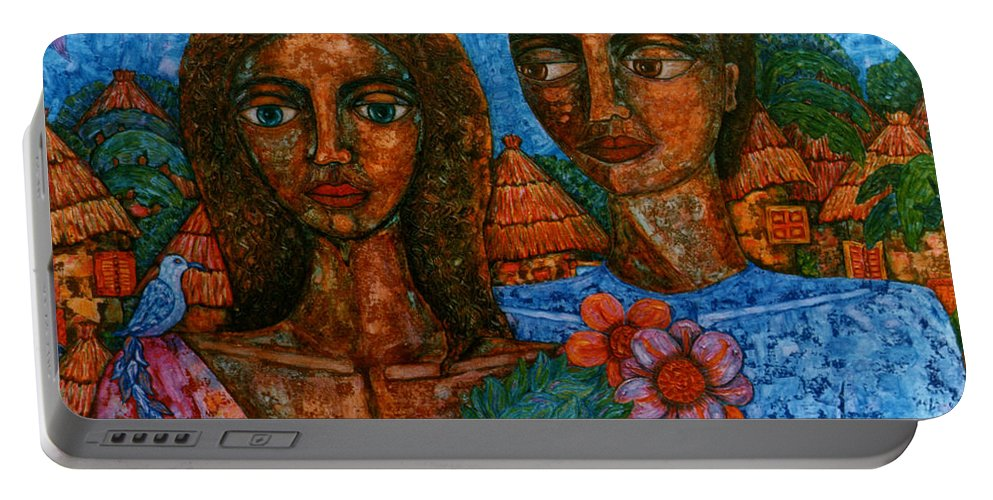 Love Portable Battery Charger featuring the painting Love Is Like A Bird by Madalena Lobao-Tello