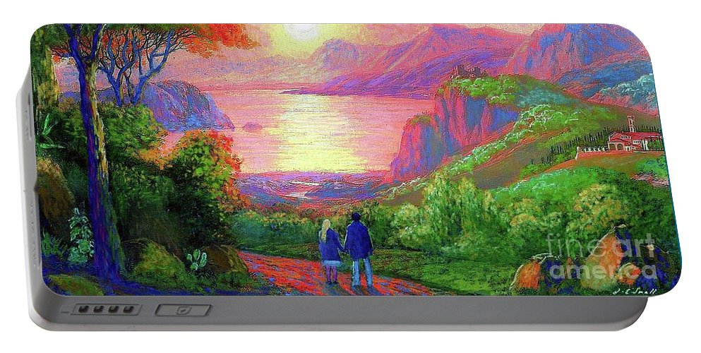 Tree Portable Battery Charger featuring the painting Love is Sharing the Journey by Jane Small