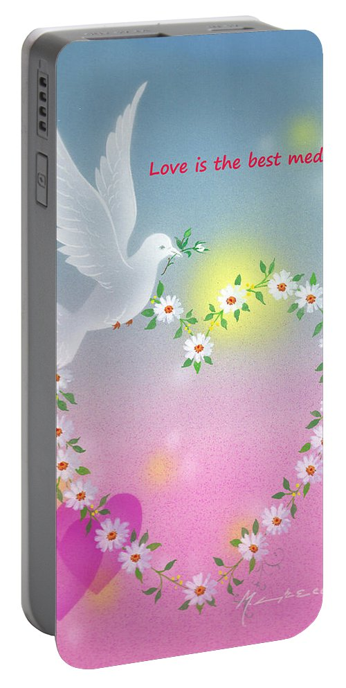 Love Portable Battery Charger featuring the painting Love Is The Best Medicine by Laura Greco