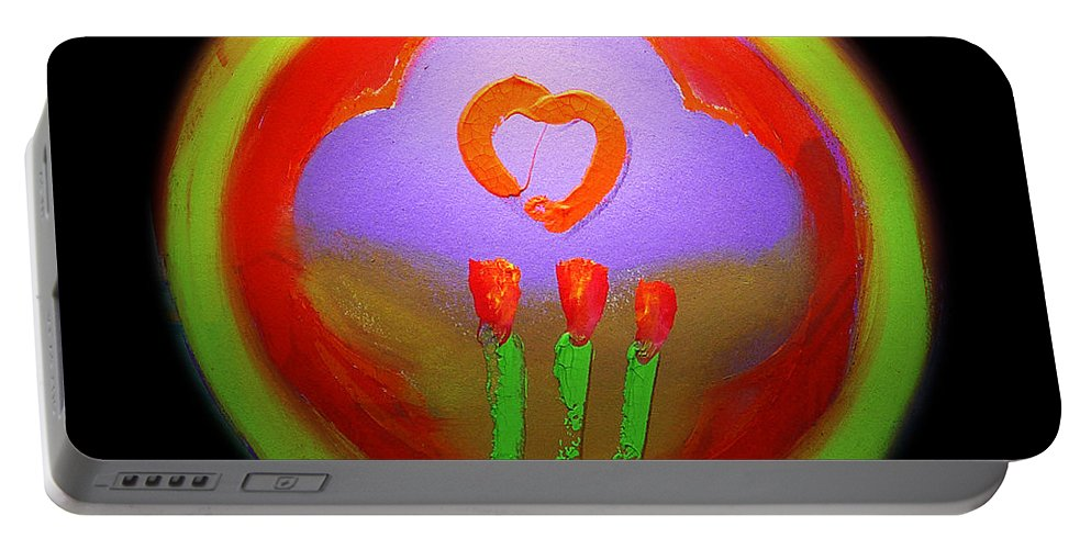 Love Portable Battery Charger featuring the painting Love Landscape Three by Charles Stuart