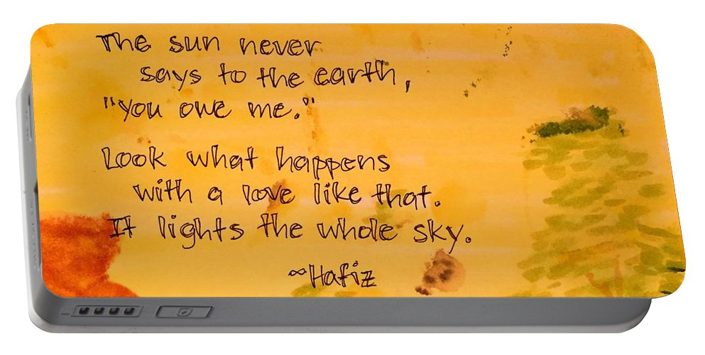 Love Portable Battery Charger featuring the painting Love Lights the Whole Sky by Vonda Drees