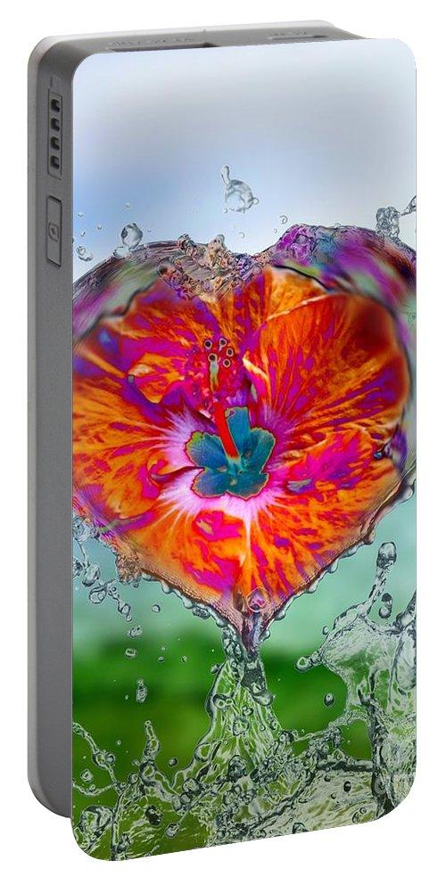 Love Portable Battery Charger featuring the digital art Love Makes A Splash by Rachel Hannah