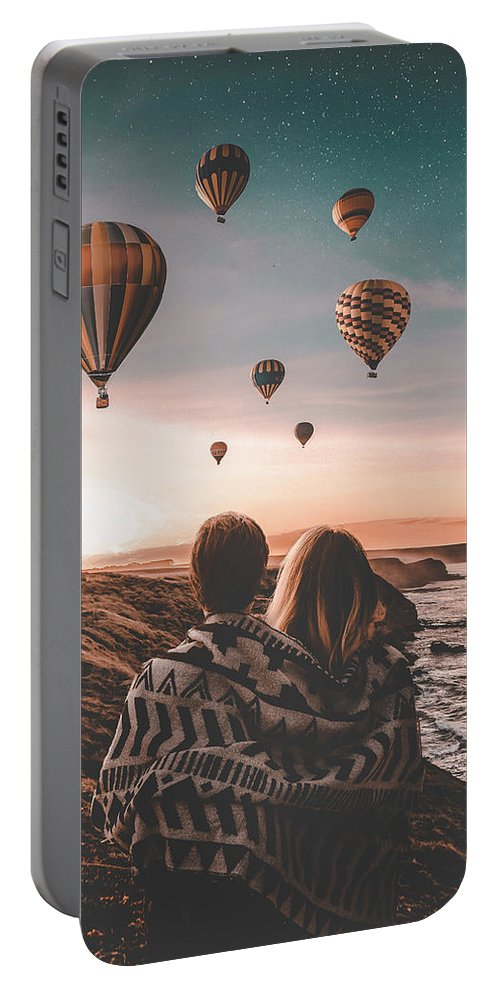 Love Ocean Wave Man Girl Sky Stars Hill Balloon Portable Battery Charger featuring the digital art Love by Morgan Dmc