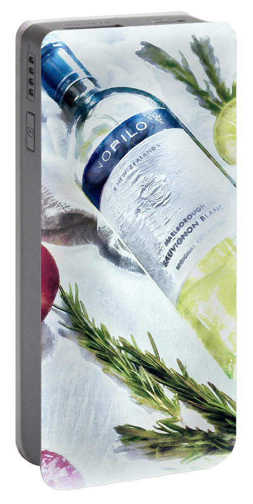 Wine Portable Battery Charger featuring the digital art Love My Wine by Pennie McCracken