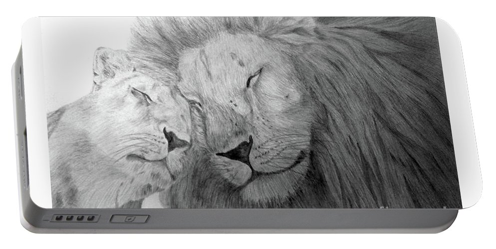 Lions Wild Cats Animals Drawing Pencil Paper Portable Battery Charger featuring the drawing Love by Nadi Sabirova