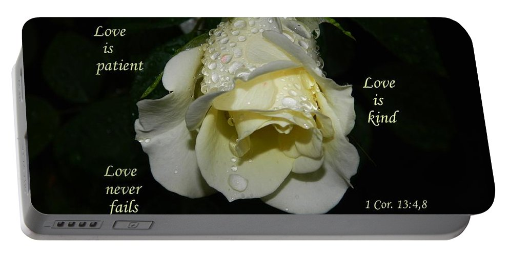 Scripture And Rose Portable Battery Charger featuring the photograph Love Never Fails by Terri Waselchuk