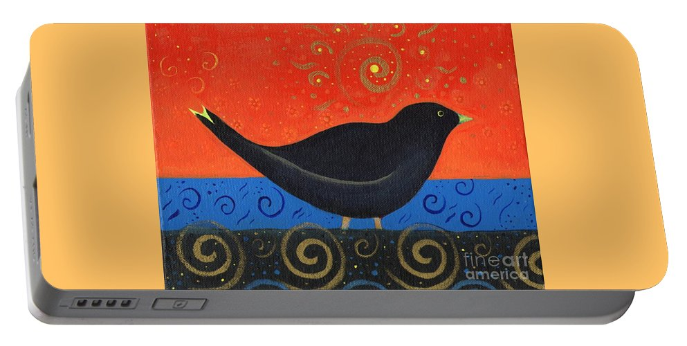 Black Bird Portable Battery Charger featuring the painting Love Of Birds by Helena Tiainen