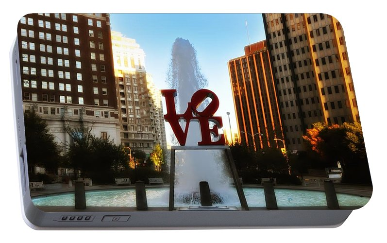 Love Portable Battery Charger featuring the photograph Love Park - Love Conquers All by Bill Cannon