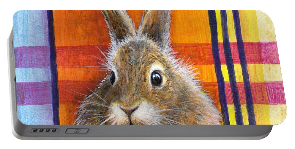 Rabbit Portable Battery Charger featuring the painting Love by Retta Stephenson