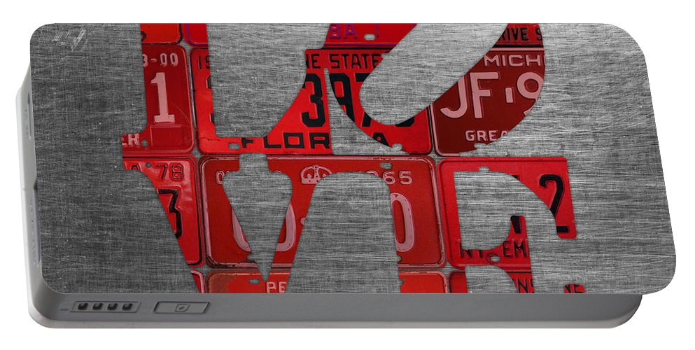 Love Portable Battery Charger featuring the mixed media Love Sign Philadelphia Recycled Red Vintage License Plates On Aluminum Sheet by Design Turnpike