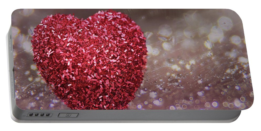 Heart Portable Battery Charger featuring the photograph Love Sparkles by Vanessa Thomas
