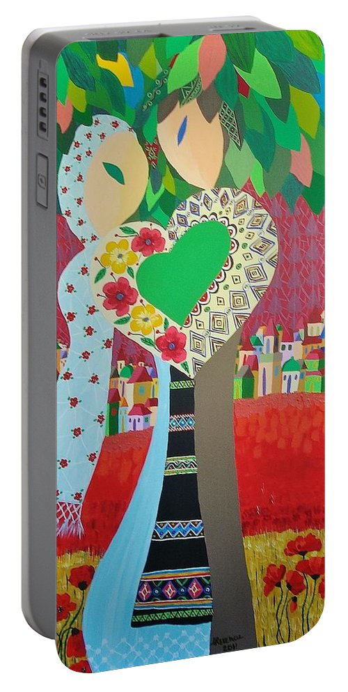 Folk Portable Battery Charger featuring the painting Love Statement by Mimi Revencu