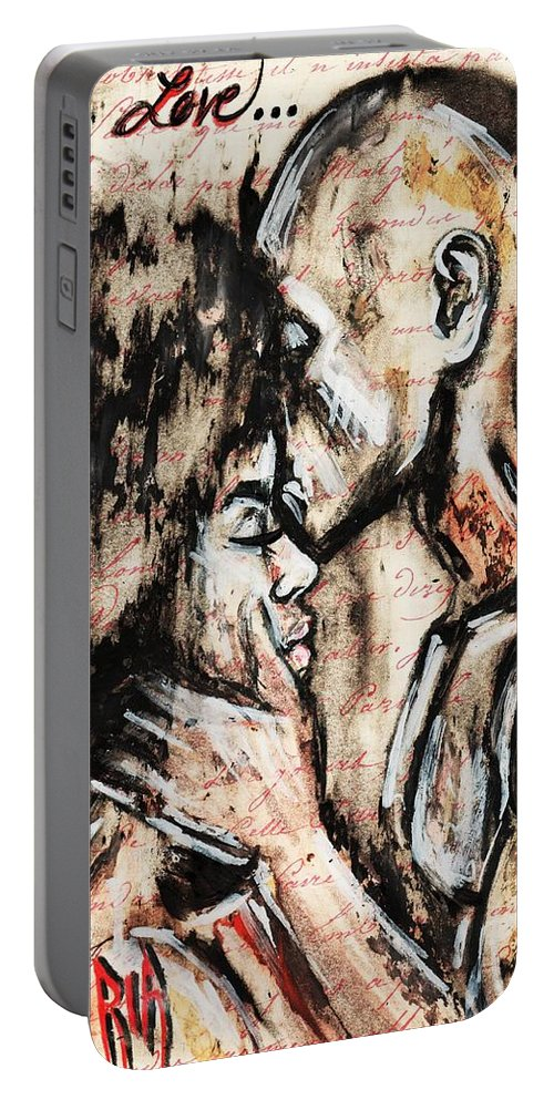 Charcoal Portable Battery Charger featuring the photograph Love story by Artist RiA
