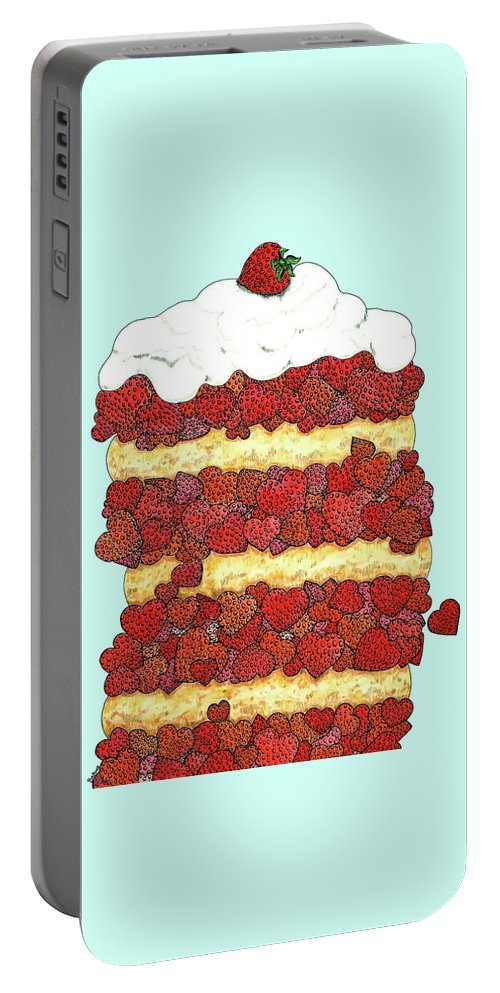 Strawberries Portable Battery Charger featuring the drawing Love Strawberries by Barbara Belknap Sprague