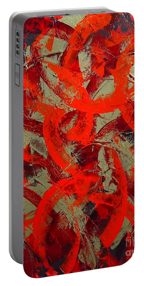 Abstract Portable Battery Charger featuring the painting Love Trails by Dean Triolo