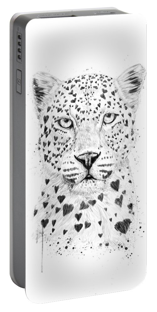 Leopard Portable Battery Charger featuring the drawing Lovely Leopard by Balazs Solti