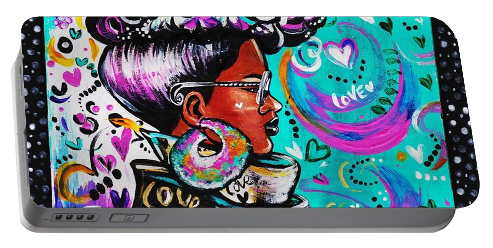 Afro Portable Battery Charger featuring the photograph Lovely by Artist RiA