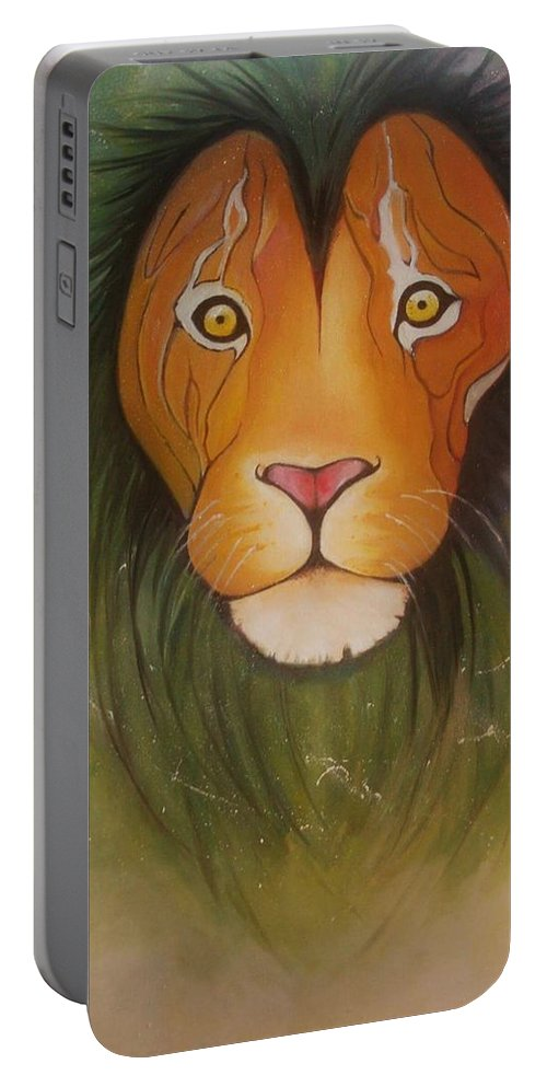 #lion #oilpainting #animal #colorful Portable Battery Charger featuring the painting LovelyLion by Anne Sue
