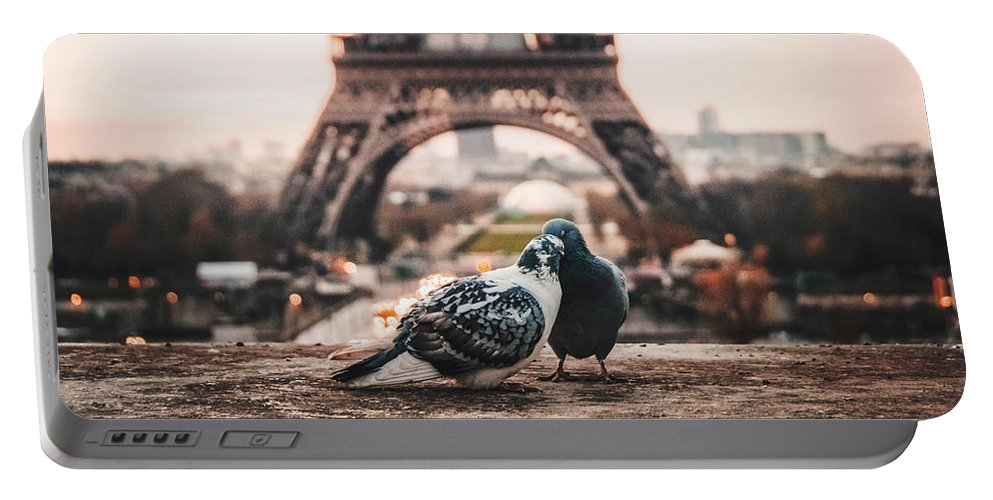Lover Portable Battery Charger featuring the photograph Lover Doves In Paris by Fbmovercrafts