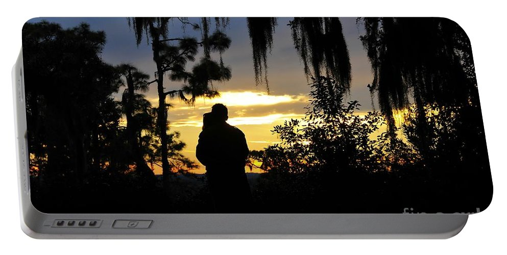 Landscape Portable Battery Charger featuring the photograph Lover's At Sunset by David Lee Thompson